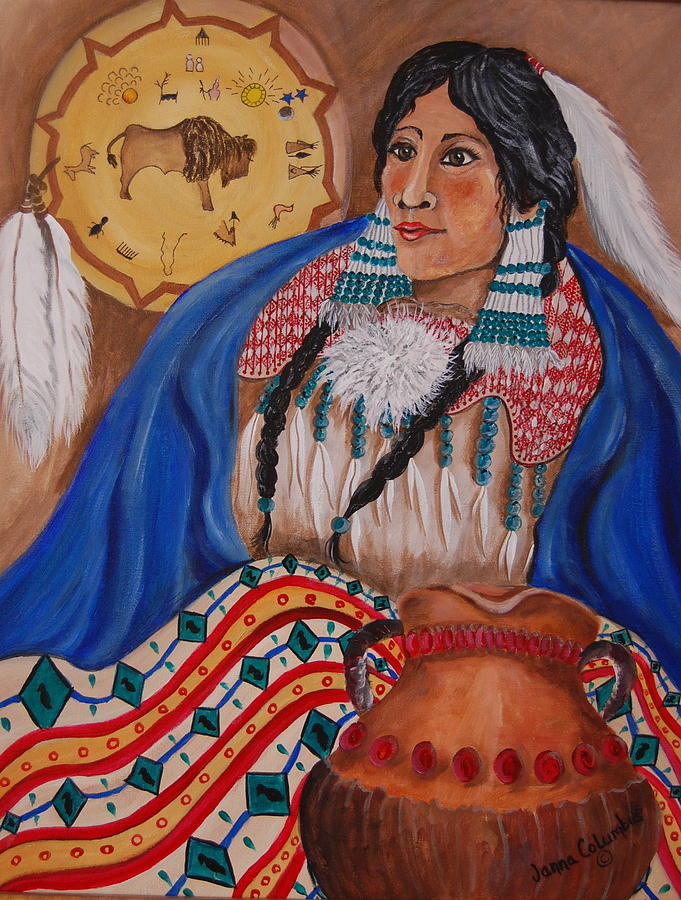 Pottery Painting - Indian Bride by Janna Columbus