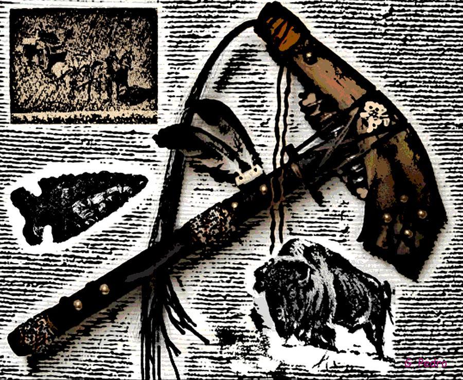 Tomahawk Photograph - Indian Buffalo Jawbone Tomahawk by George Pedro