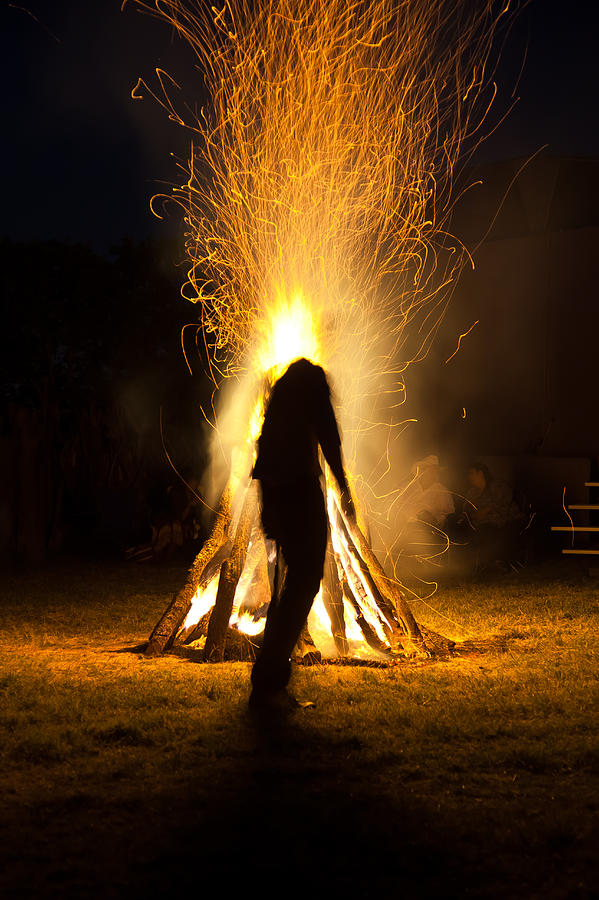 Adult Photograph - Indian Ceremonial Bonfire by Ralph Brannan