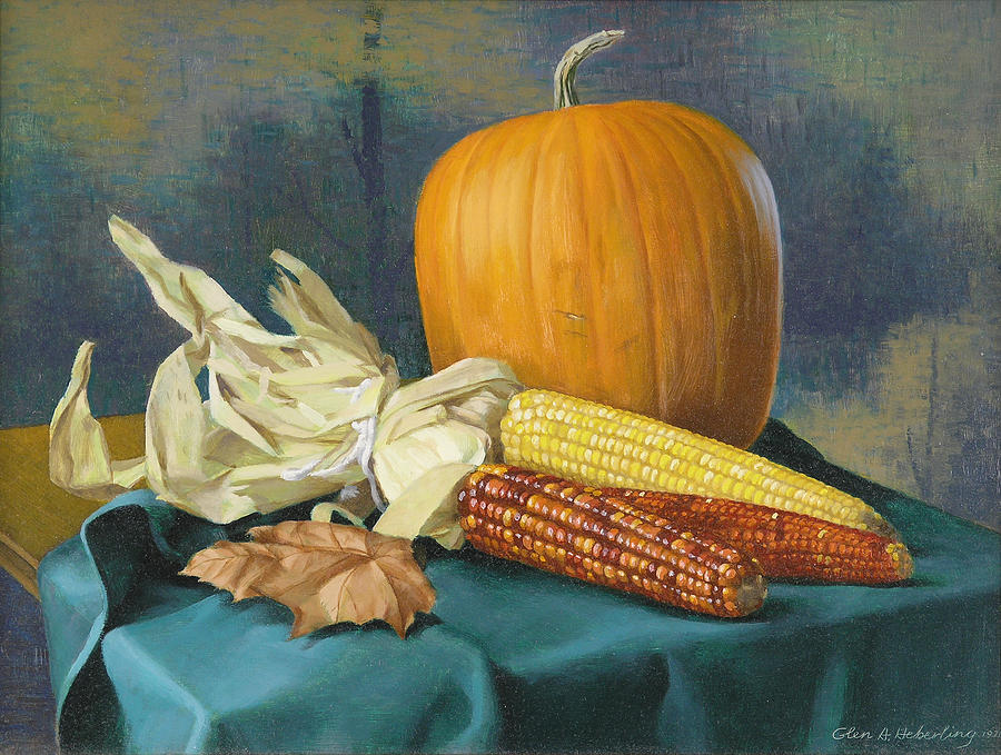 Still Life Painting - Indian Corn and . . . by Glen Heberling