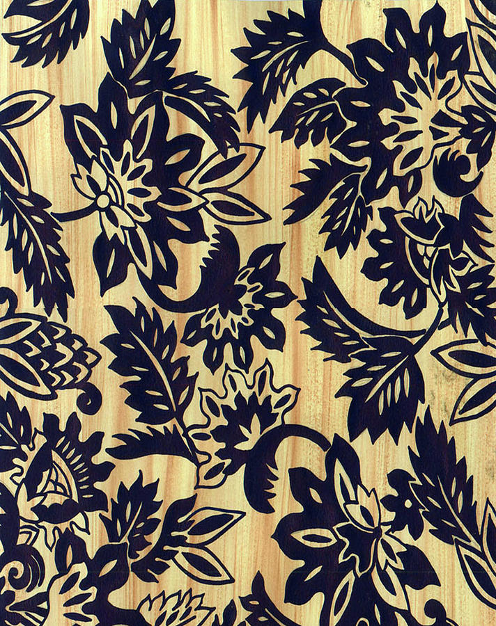 Textile Design Painting - Indian Floral by Leslie Marcus