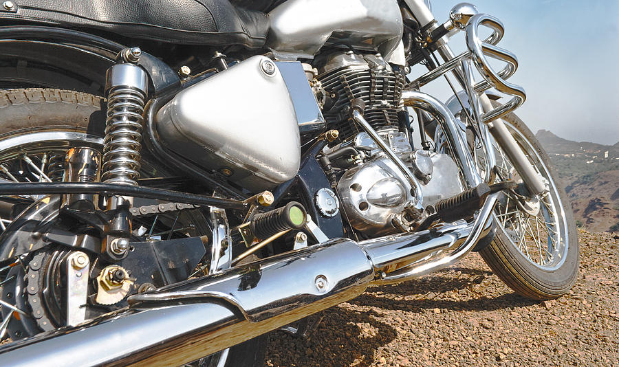 Interesting Photograph - Indian Motorbike Chrome by Kantilal Patel