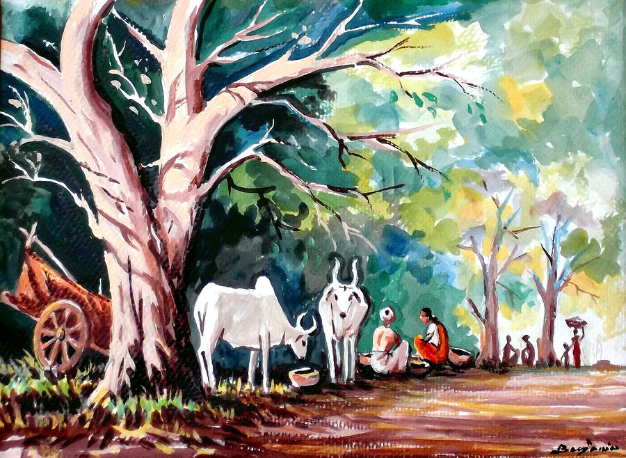 Landscape Painting - Indian Village by Benjamin Manohar