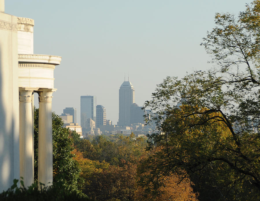 View From Crown Hill Cemetery Photograph - Indianapolis Downtown by Beverly Cazzell