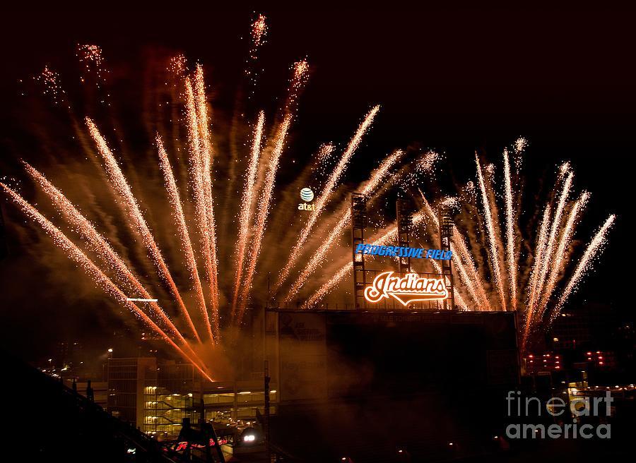 Fireworks Photograph - Indians Fireworks by Bob Niederriter