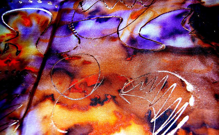 Abstract Painting - Indigo Brown Orange Yellow And Silver  by Alexandra Jordankova