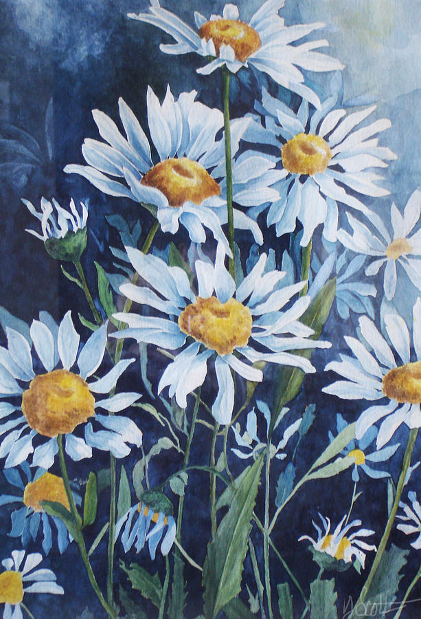 Color Painting - Indigo Daisies by Yvonne Scott