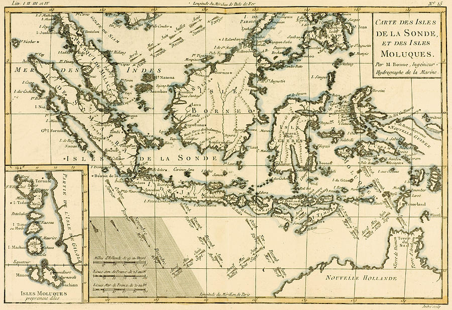 Maps Drawing - Indonesia And The Philippines by Guillaume Raynal