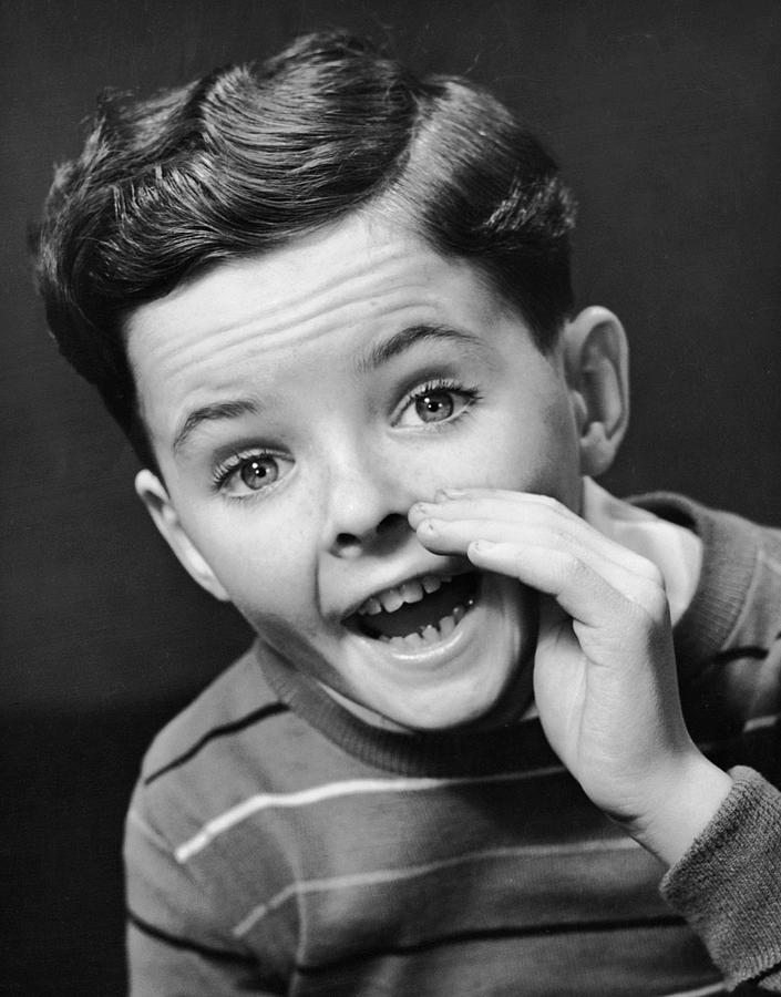 Child Photograph - Indoor Portrait Of Yelling Boy by George Marks