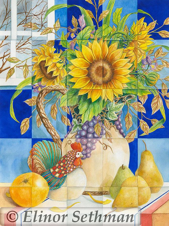 Sunflowers Painting - Indoor Sunshine by Elinor Sethman