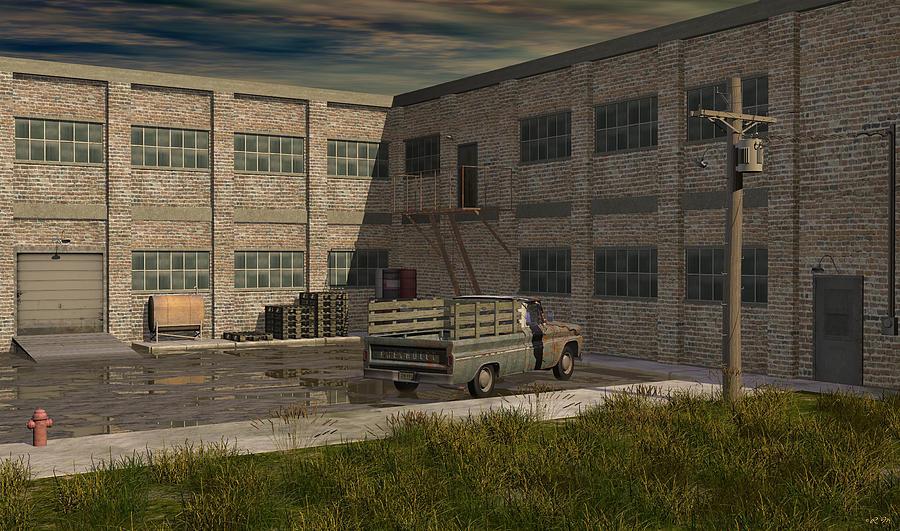 Chevrolet Digital Art - Industrial Courtyard by Robin Meade