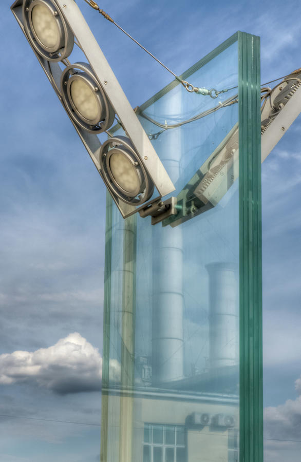 Hdr Photograph - Industrial reflection in a street lamp by Michael Goyberg
