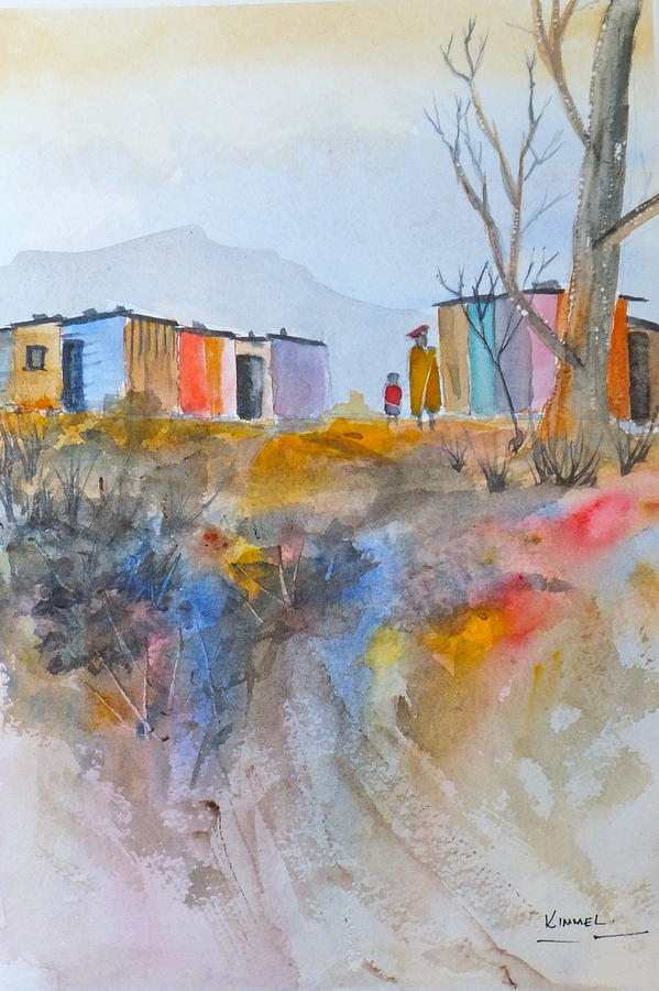 Hillside Town Art Painting