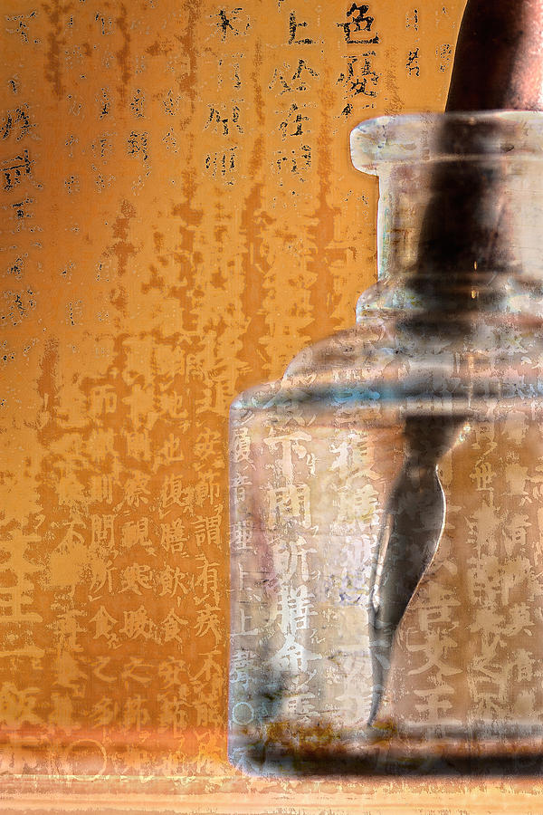 Ink Photograph - Ink Bottle Calligraphy by Carol Leigh