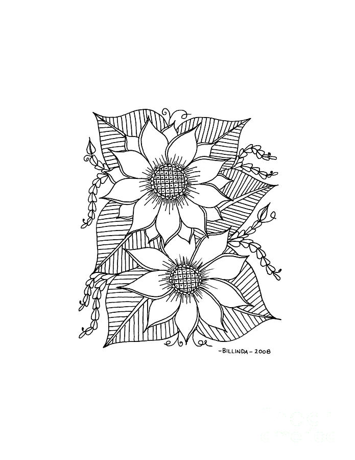 Black And White Drawing - Ink Sunflower by Billinda Brandli DeVillez