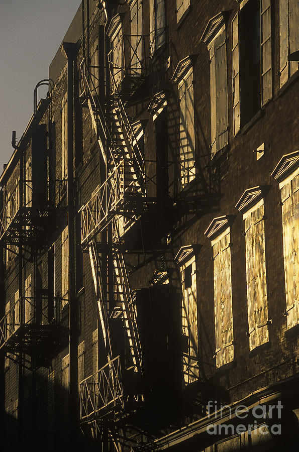Apartment Building Photograph - Inner City Fire Escapes by Will & Deni McIntyre