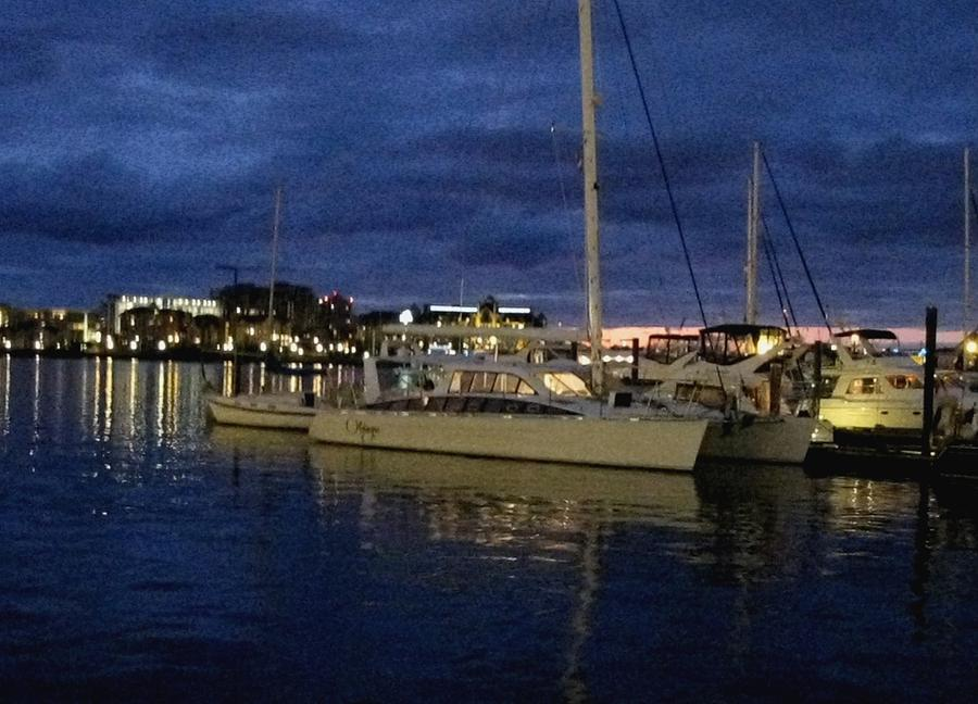 Kathy Long Photograph - Inner Harbour At Night by Kathy Long