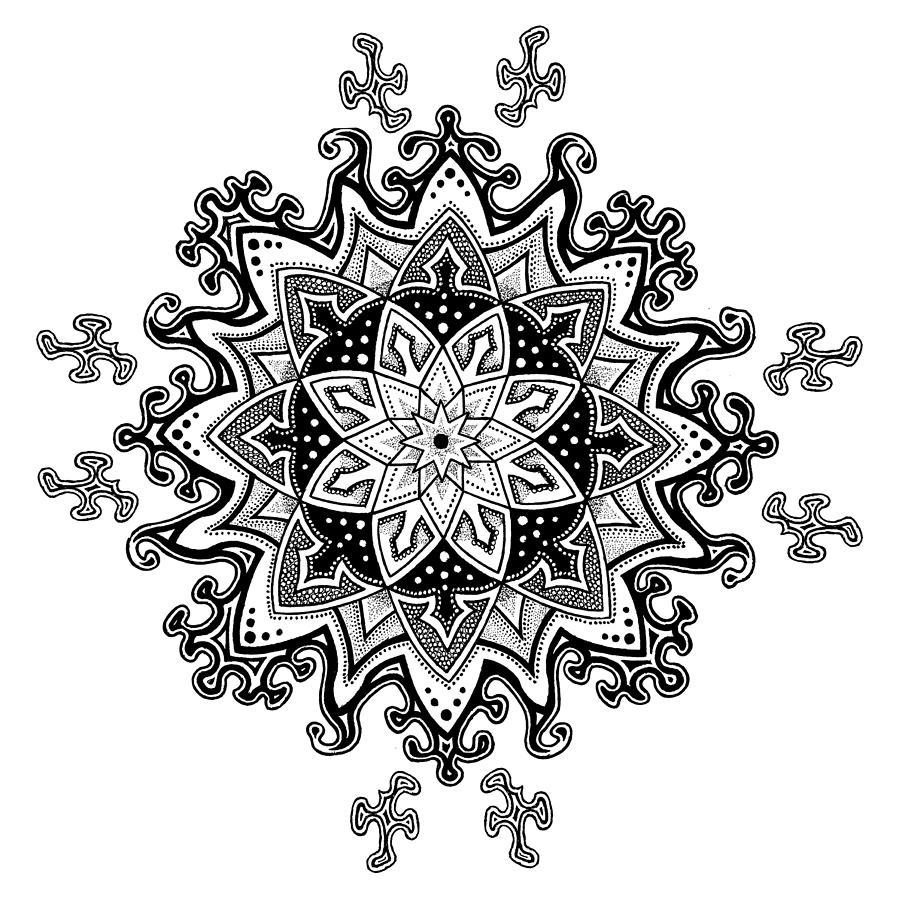 Snowflake Drawing - Innocent Snowflake by Ansel Cummings
