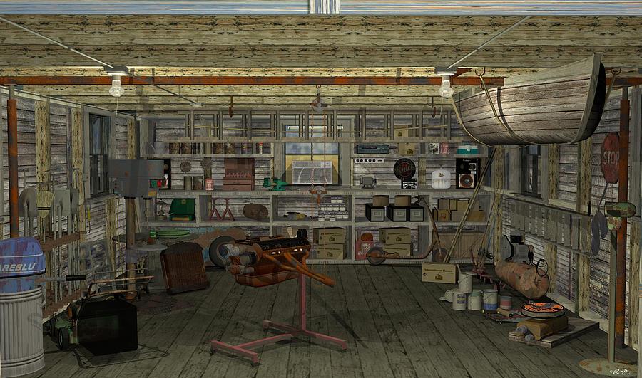 Garage Digital Art - Inshed by Robin Meade