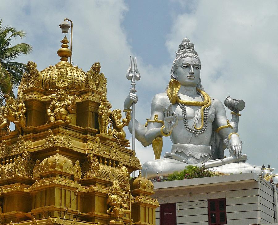 Large Photograph - Inside Murudeshwara Temple 2 by Sandeep Gangadharan