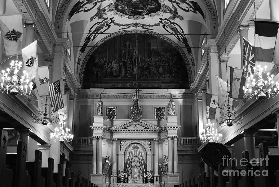New Orleans Photograph - Inside St Louis Cathedral Jackson Square French Quarter New Orleans Black And White by Shawn OBrien