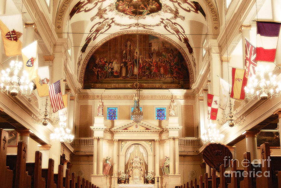 New Orleans Photograph - Inside St Louis Cathedral Jackson Square French Quarter New Orleans Diffuse Glow Digital Art by Shawn OBrien
