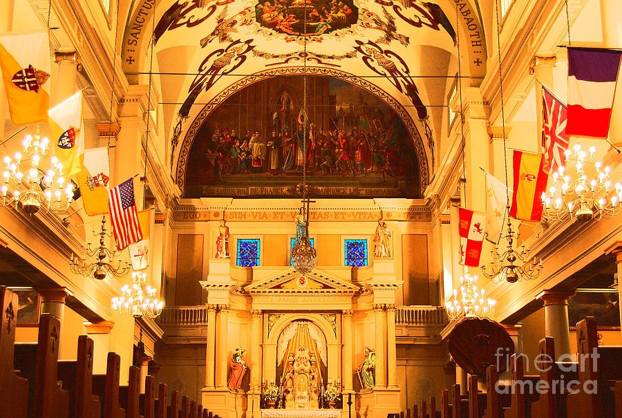 New Orleans Digital Art - Inside St Louis Cathedral Jackson Square French Quarter New Orleans Film Grain Digital Art by Shawn OBrien