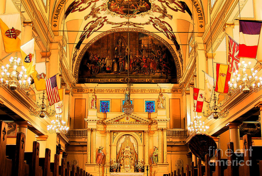 New Orleans Digital Art - Inside St Louis Cathedral Jackson Square French Quarter New Orleans Ink Outlines Digital Art by Shawn OBrien