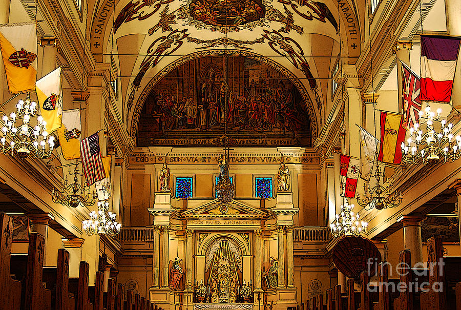 New Orleans Digital Art - Inside St Louis Cathedral Jackson Square French Quarter New Orleans Poster Edges Digital Art by Shawn OBrien
