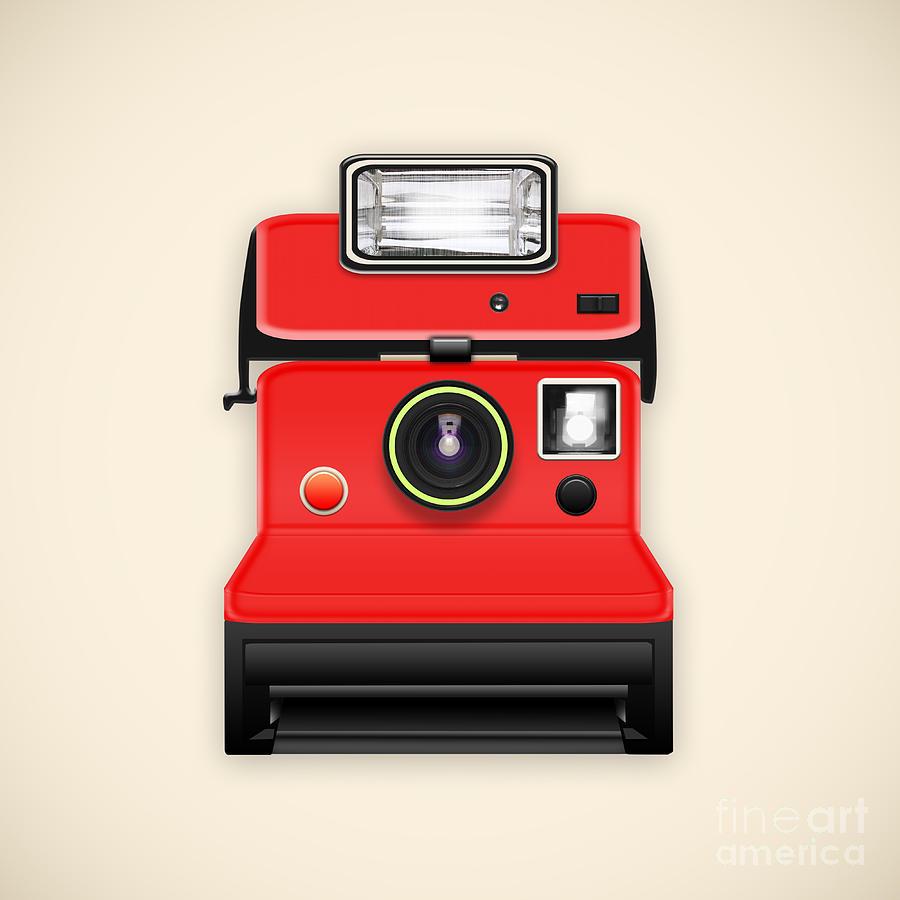Analog Photograph - Instant Camera With A Blank Photo by Setsiri Silapasuwanchai