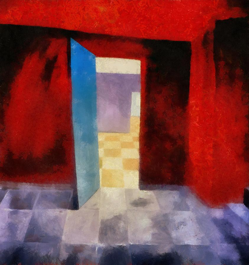 Red Painting - Interior With Red Walls by Michelle Calkins