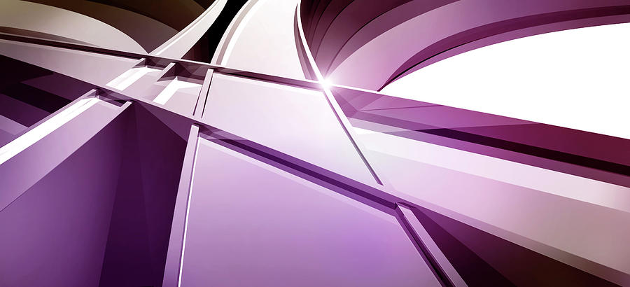 Horizontal Digital Art - Intersecting Three-dimensional Lines In Purple by Ralf Hiemisch