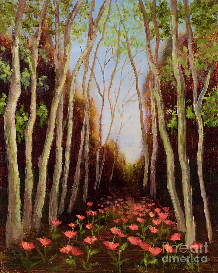 Woods Painting - Into The Woods-poppies by Vic  Mastis