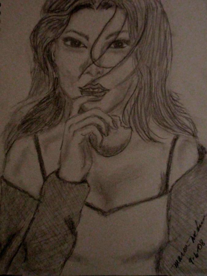 Sketch Drawing - Intrigued by Maria Medina