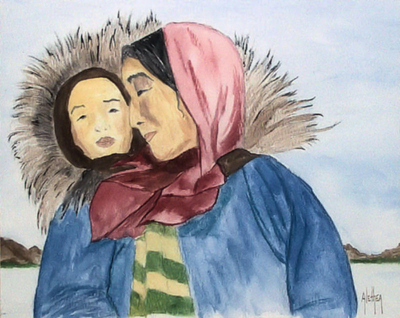Eskimo Painting - Inupiaq Eskimo Mother And Child by Alethea McKee