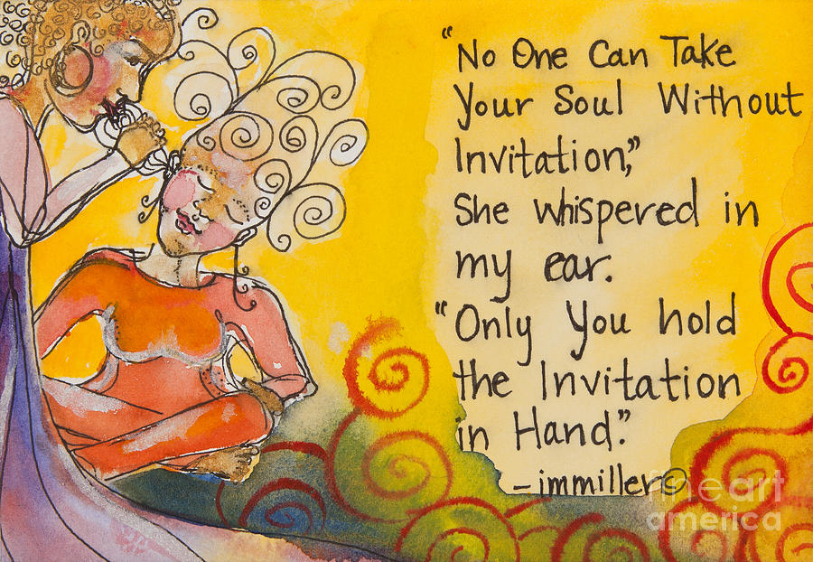 Woman Painting - Invitation In Hand by Ilisa Millermoon
