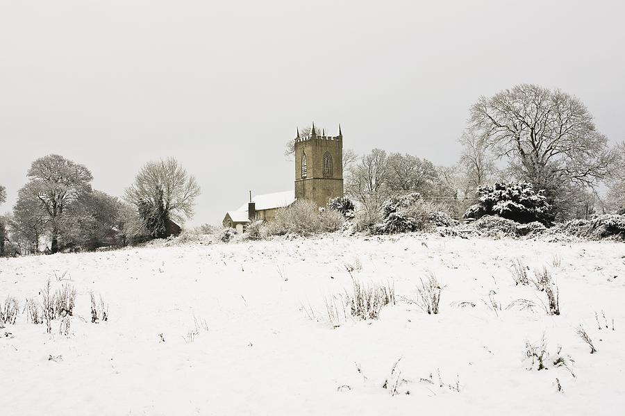 Cathedral Photograph - Ireland Winter Landscape With Church by Peter McCabe