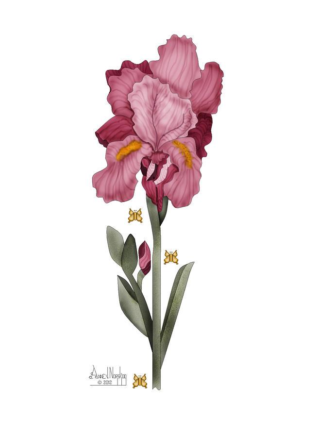 Digital Painting Painting - Iris I by Anne Norskog