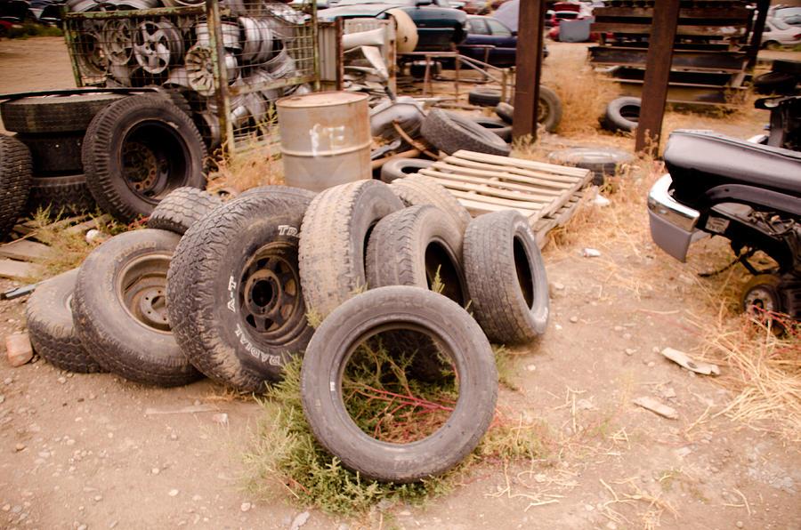 Tires Photograph - Iron Boneyard 1 by Matthew Angelo