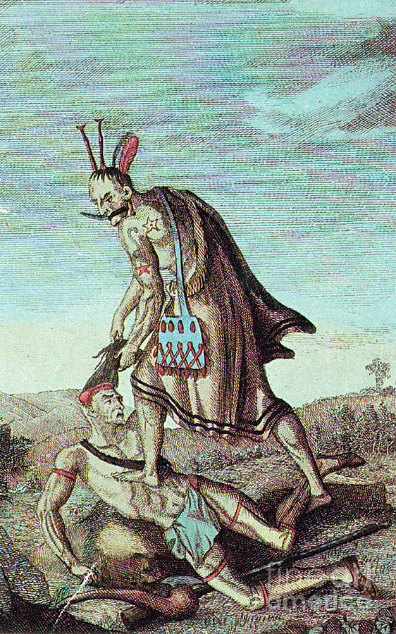 History Photograph - Iroquois Warrior Scalping Enemy, 1814 by Photo Researchers