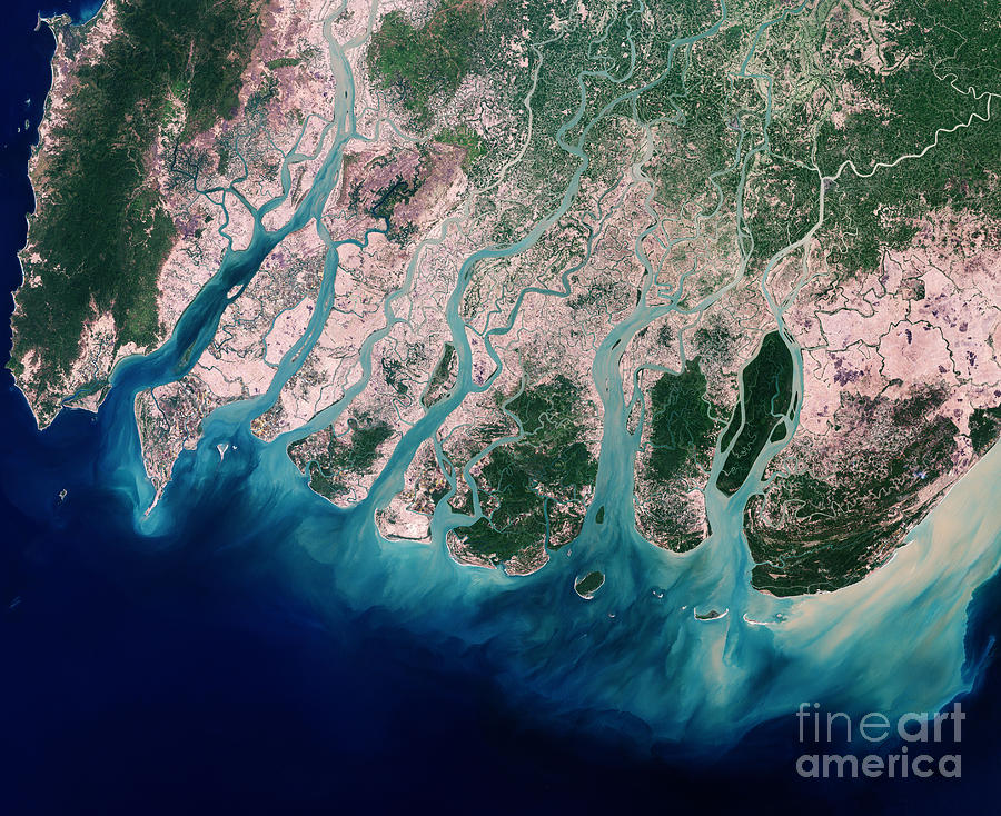 Satellite Photograph - Irrawaddy River Delta by Nasa
