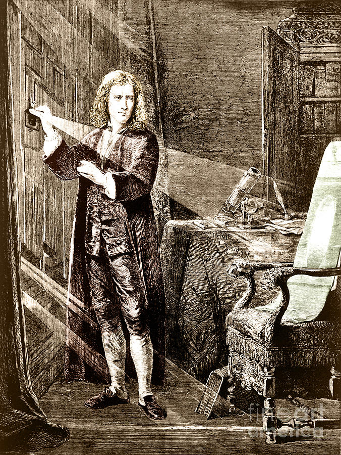 Sir Isaac Newton Photograph - Isaac Newton Ray Of Light by Science Source