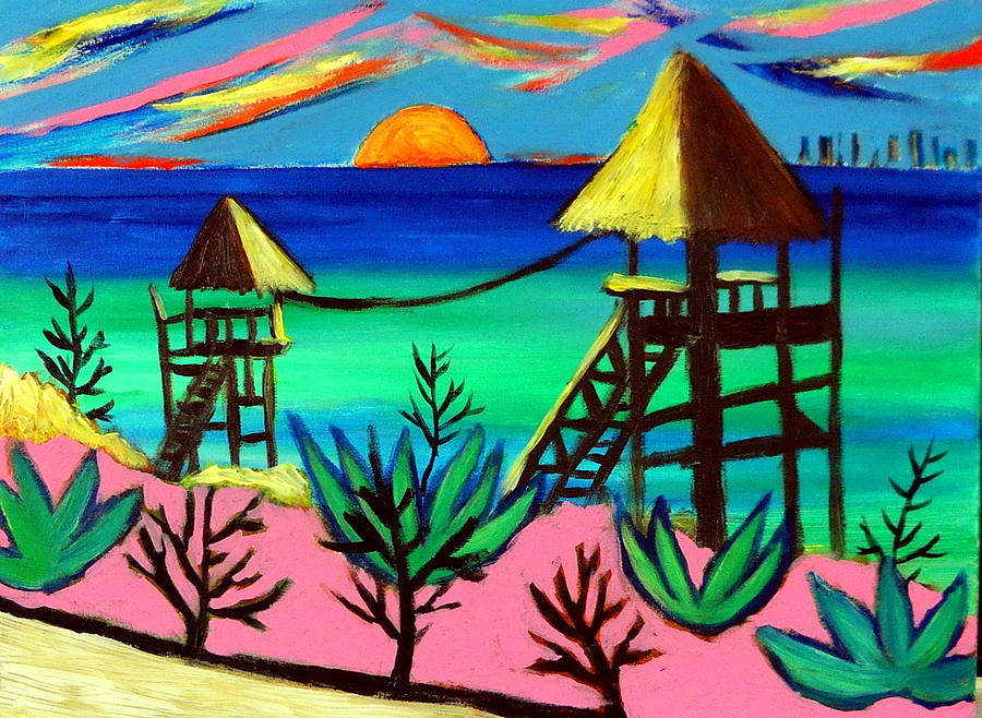 Isla Mujeres Sunset Painting by Ted Hebbler
