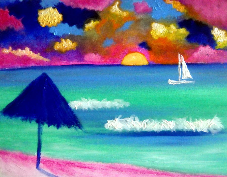 Isla Sunset Painting by Ted Hebbler