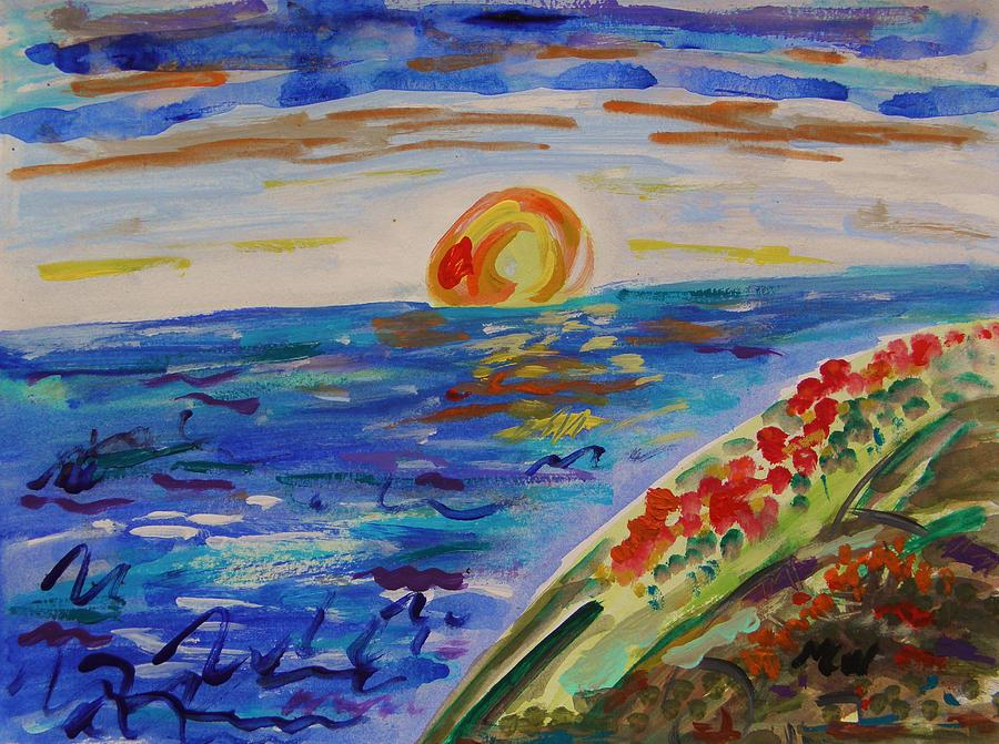 Sundown Painting - Island Poppy Sundown by Mary Carol Williams