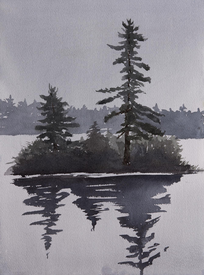 Island Painting - Island Reflecting In A Lake by Debbie Homewood