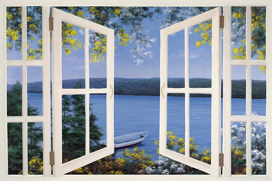 Open window matisse - Island Time Window Painting By Diane Romanello