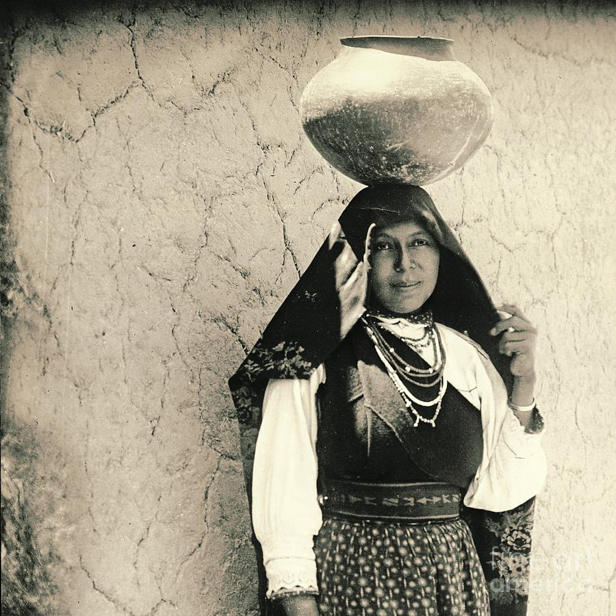 1910 Photograph - Isleta Pueblo Woman 1910 by Padre Art