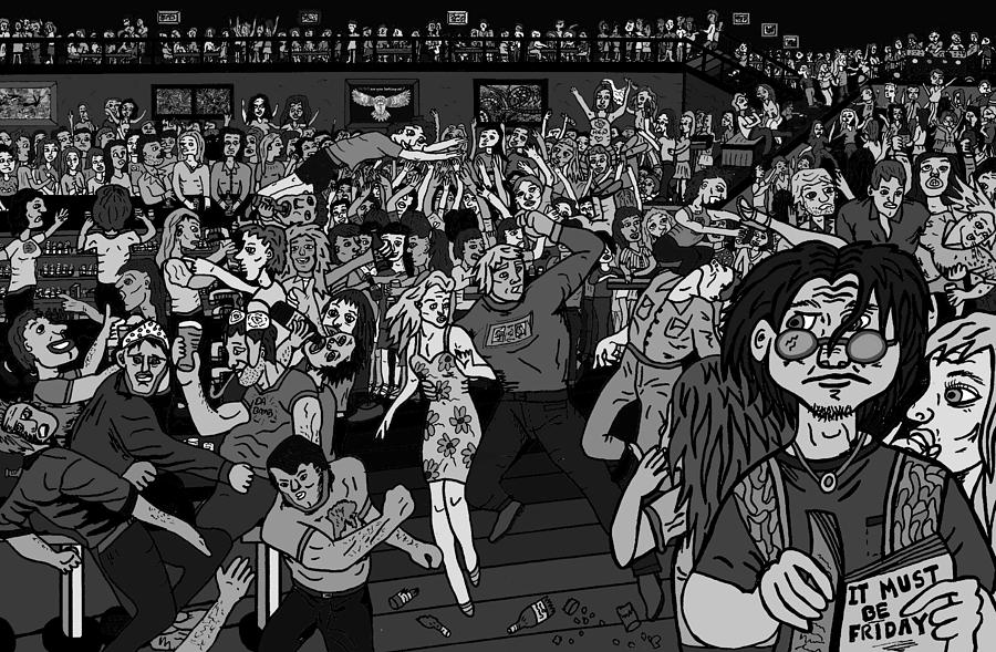 Bar Pictures Drawing - It Must Be Friday Night by Karen Elzinga