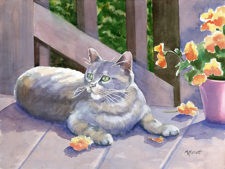 Cat Painting - It Wasnt Me by Marsha Elliott